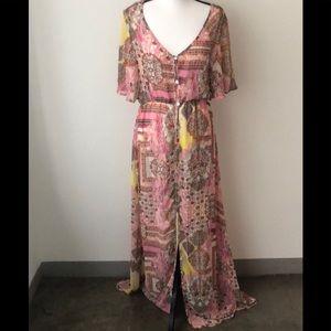 Elan Button Down Gypsy Boho Maxi Dress In Large